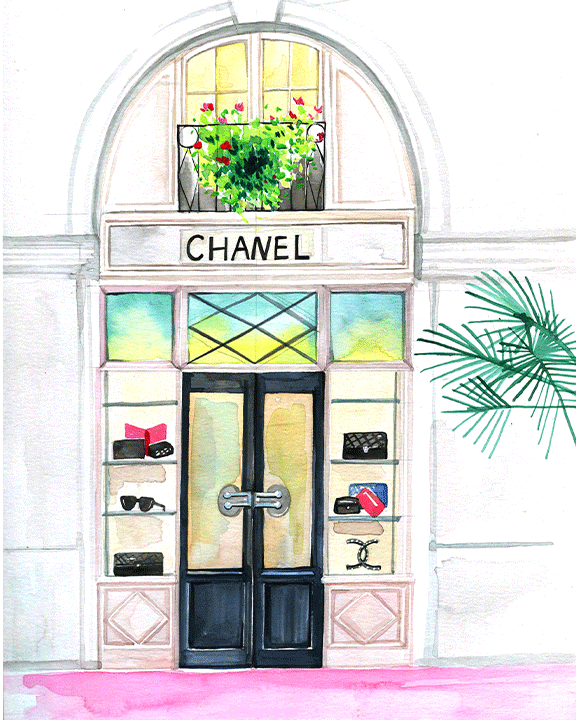Chanel Store illustration by fashion illustrator Rongrong DeVoe