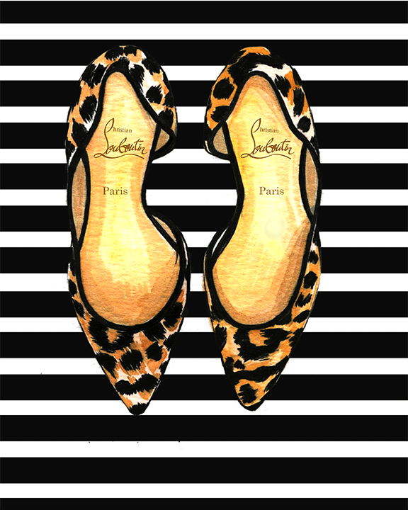 Christian Louboutin illustration by fashion illustrator Rongrong DeVoe