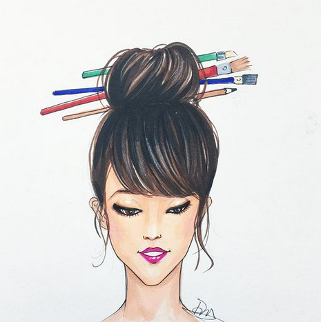 Fashion sketch by Rongrong DeVoe using copic markers