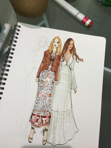 Fashion Illustration of Rachel Zoe SS16 collection during NYFW by Houston fashion illustrator rongrong devoe.jpg