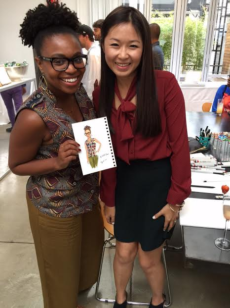 Houston fashion illustrator Rongrong DeVoe at Maybelline lounge live sketch during NYFW ss16
