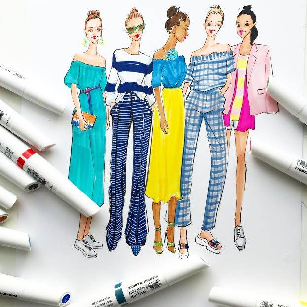 Fashion Illustration of J crew ss16 collection by Rongrong DeVoe