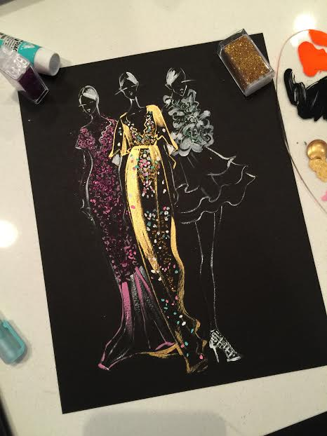 Fashion Illustration of Marchesa ss16 collection by Rongrong DeVoe