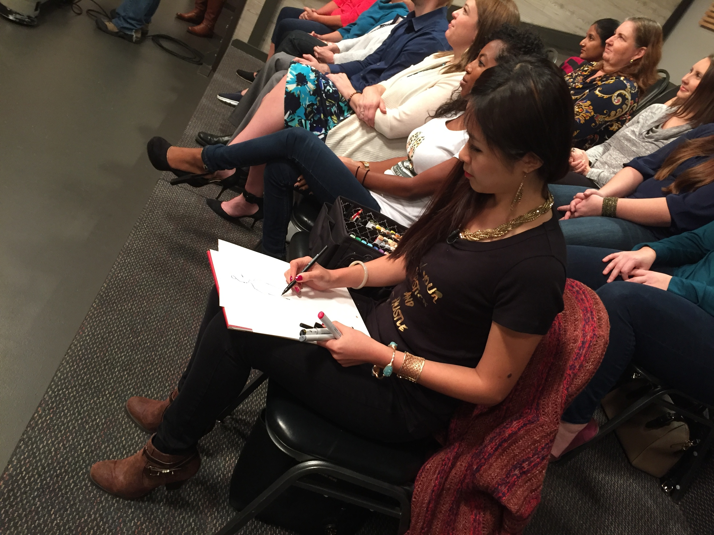 Houston fashion illustrator live sketch at Great Day Houston-6