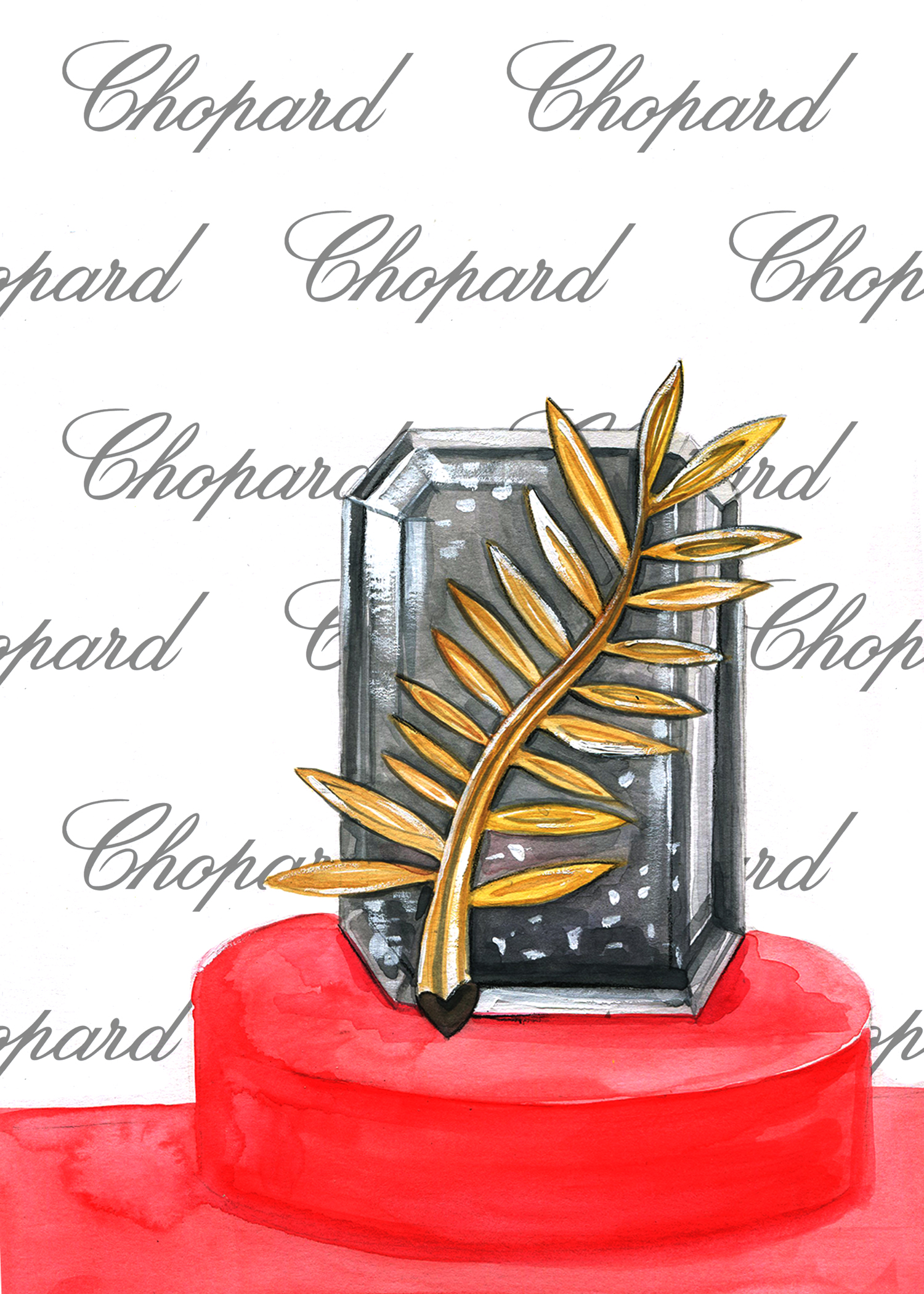Invitation of Chopard Red Carpet Collection by Houston Fashion Illustrator Rongrong DeVoe