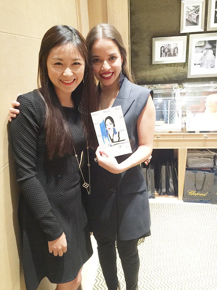 Fashion Illustrator Rongrong DeVoe with guest at Live sketch event of Chopard