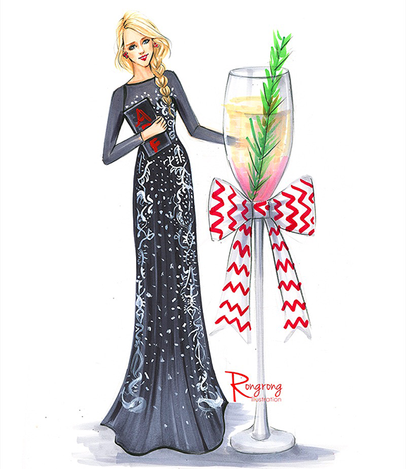 Fashion-illustration-of-French-Connection-Live-sketch-event-by-Houston-fashion-illustrator-Rongrong-DeVoe