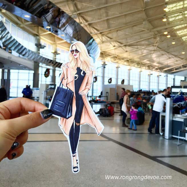 Fashion sketch cut out of travel fashion by Houston fashion illustrator Rongrong DeVoe