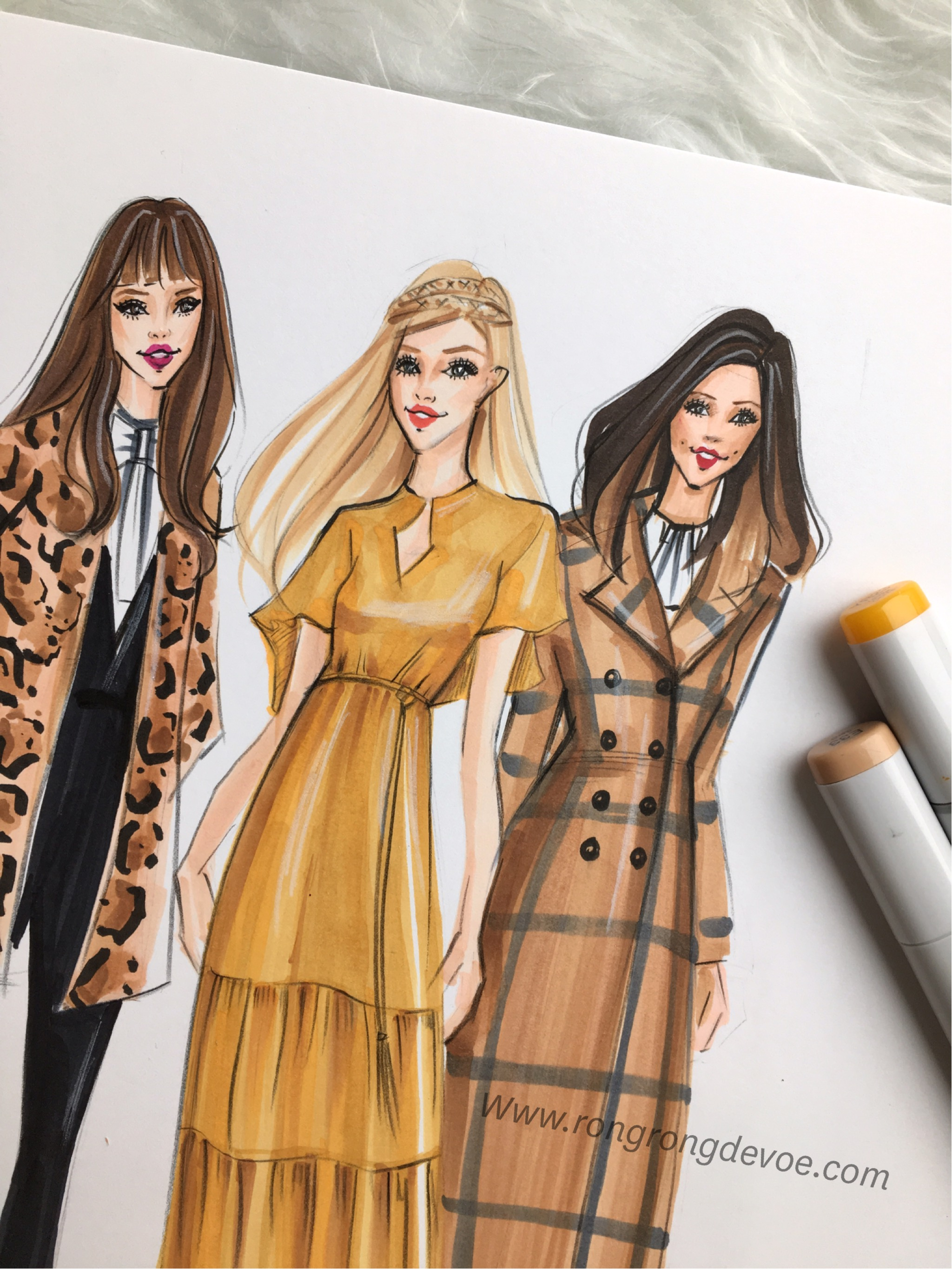 Fashion Illustration of Rachel Zoe's Pre Fall 2016 Collection-details