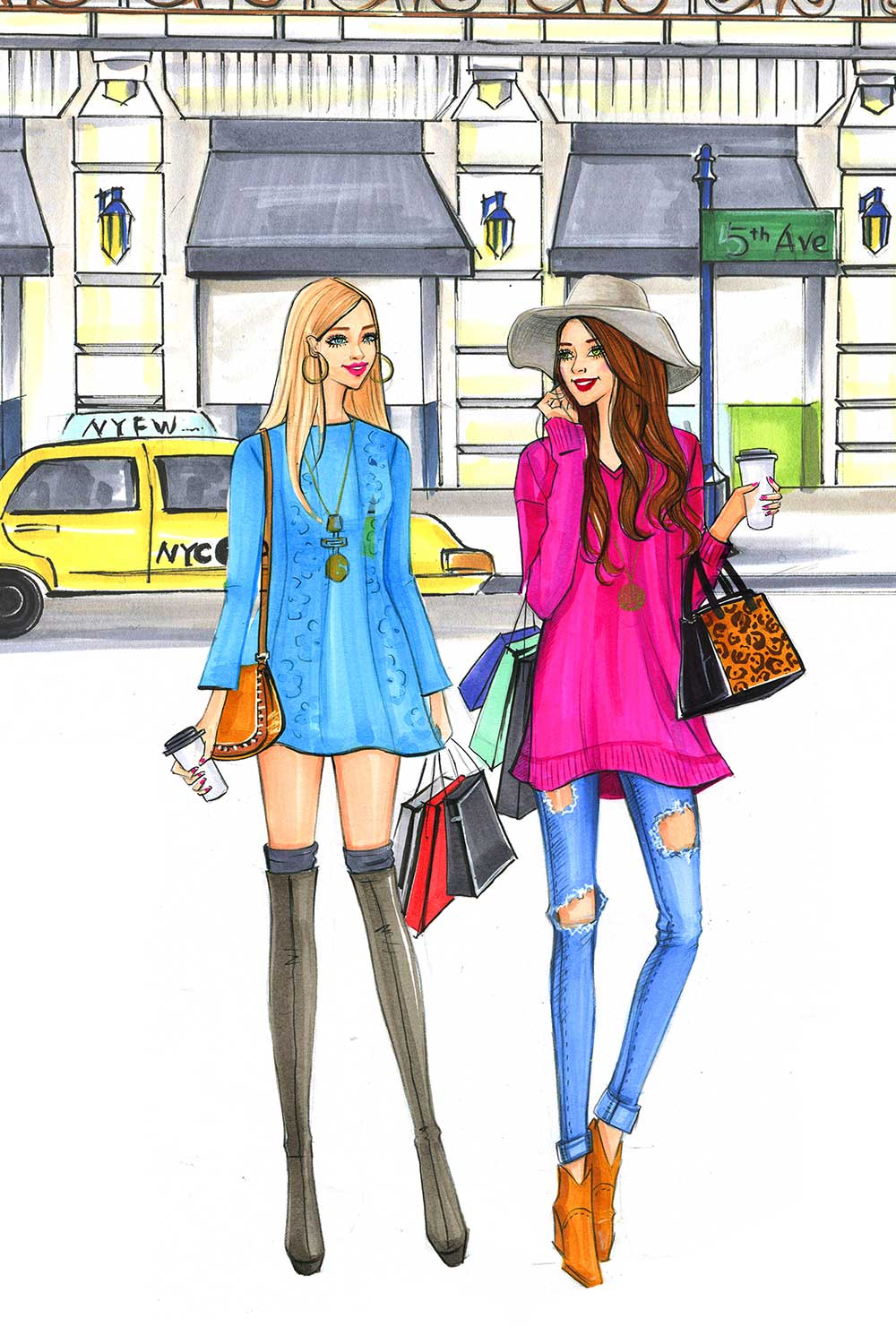 Fashion illustration for Sydewalk blogger platform by Houston fashion illustrator Rongrong DeVoe