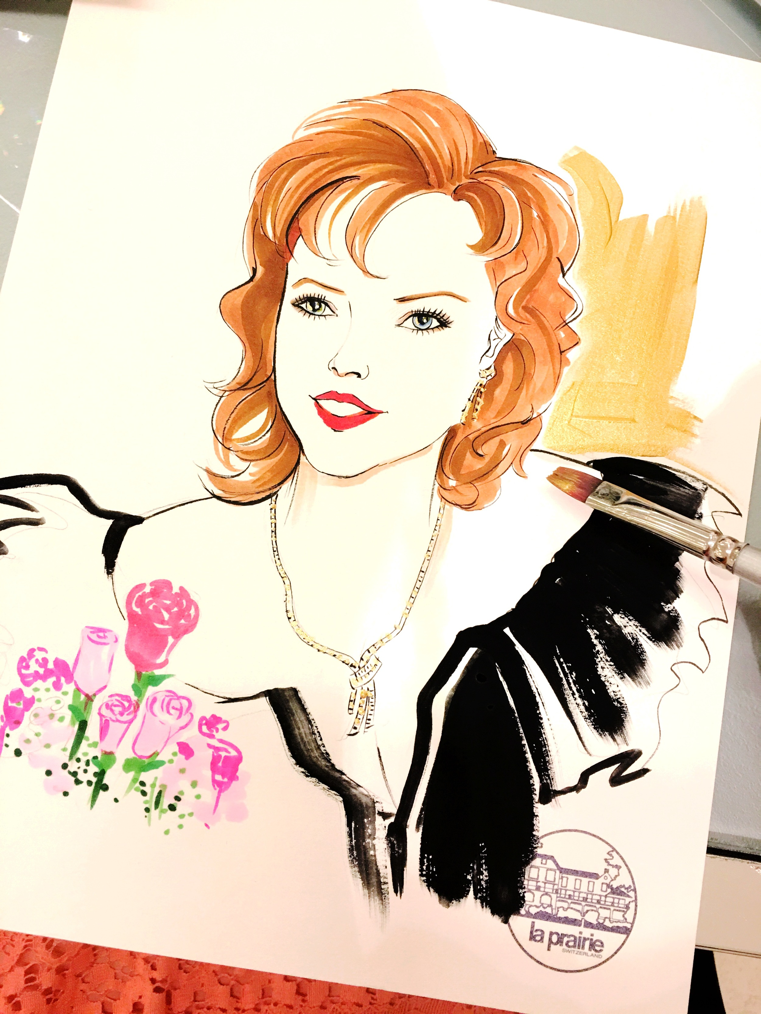 La-Prairie-live-sketch-event-at-Saks fifth avenue-Houston-by-fashion-illustrator-Rongrong-DeVoe--2