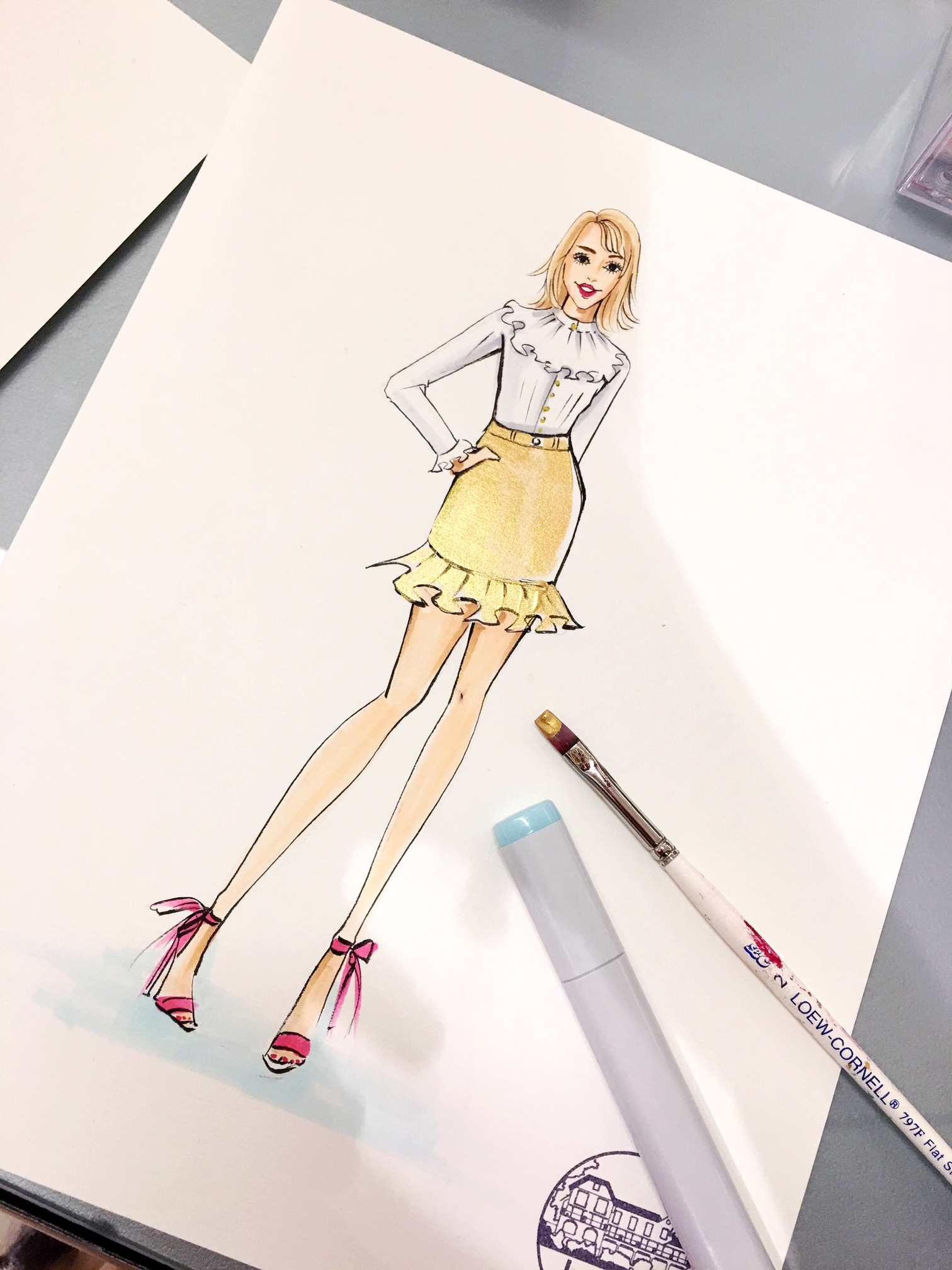 La-Prairie-live-sketch-event-at-Saks fifth avenue-Houston-by-fashion-illustrator-Rongrong-DeVoe--3
