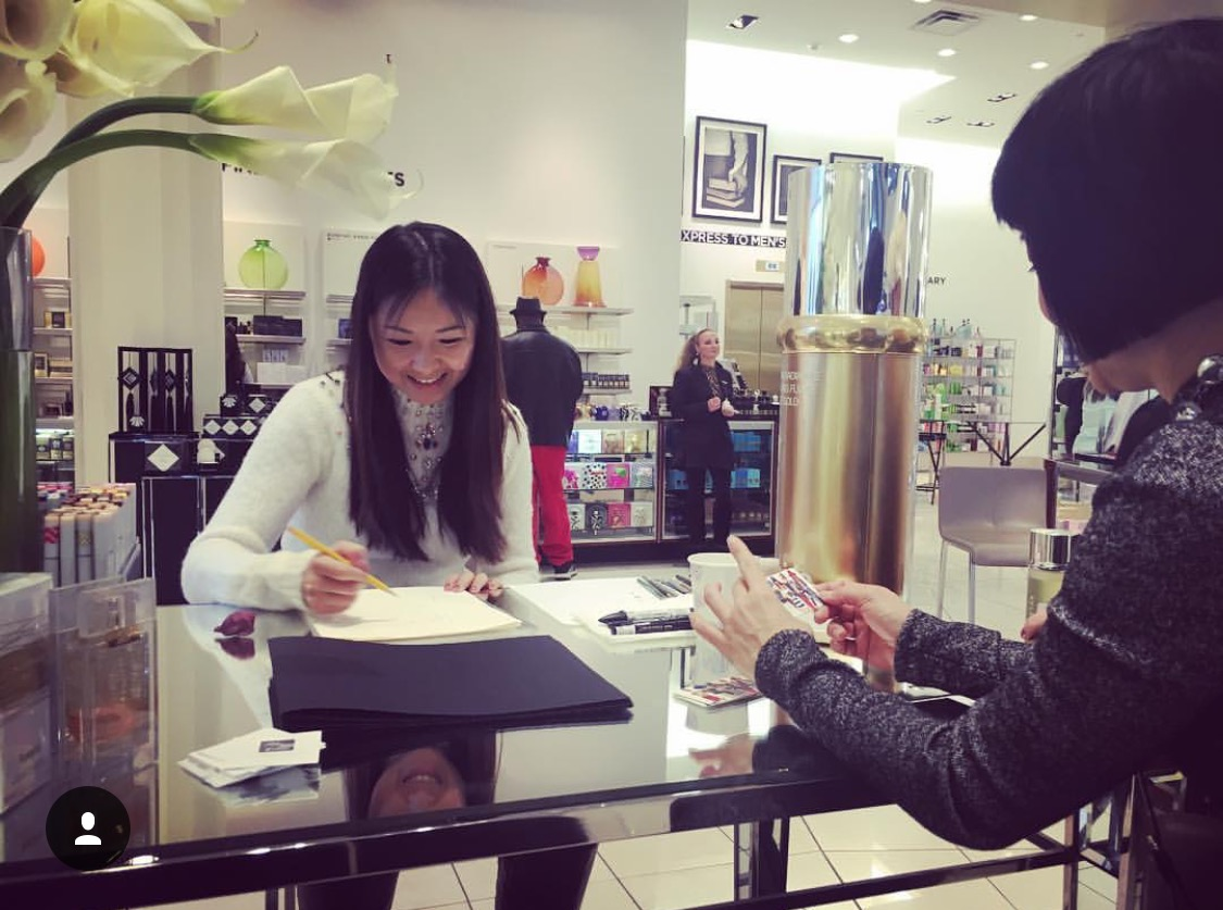 La-Prairie-live-sketch-event-at-Saks fifth avenue-Chicago-by-fashion-illustrator-Rongrong-DeVoe--3