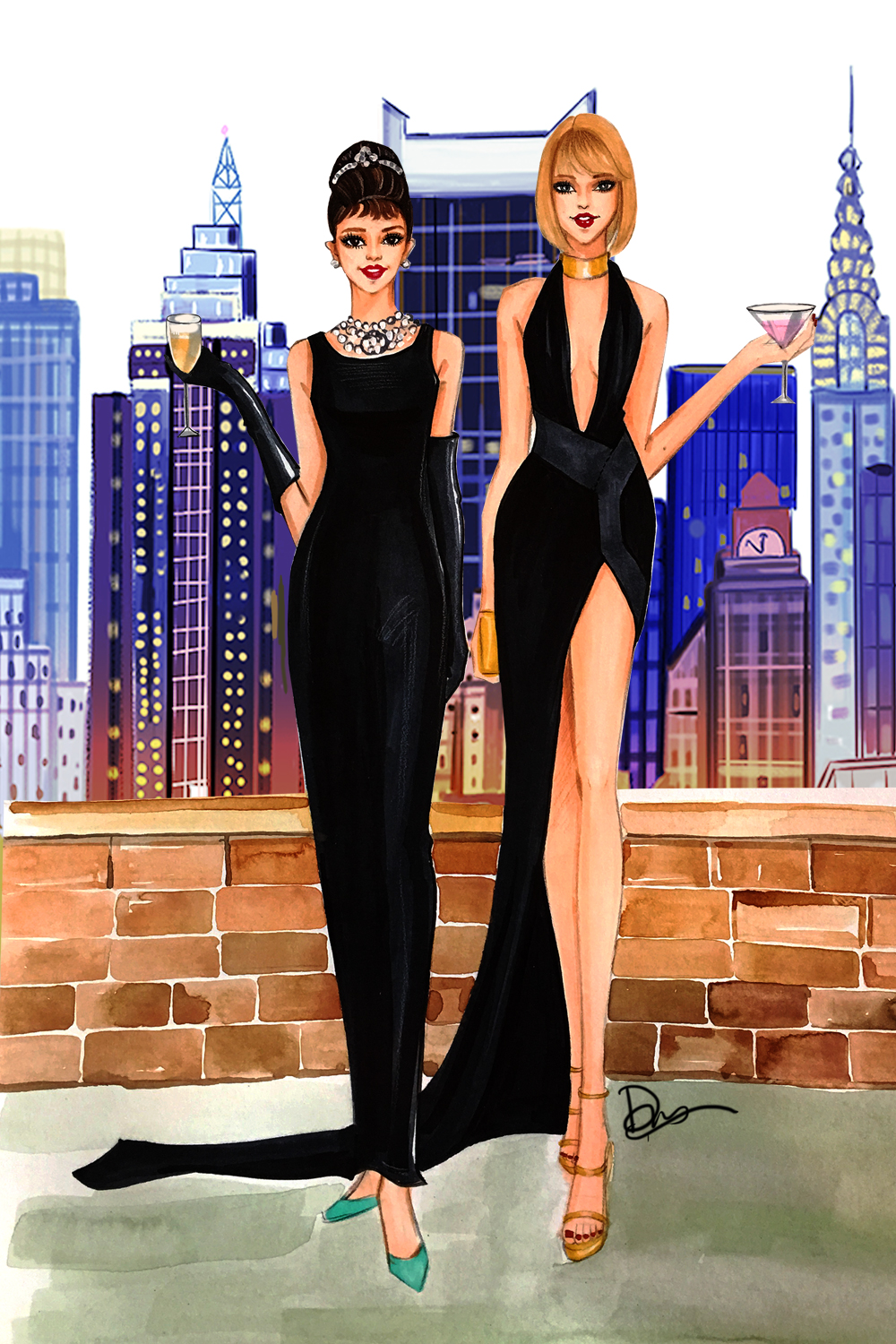 Audery-Hepburn-and-Taylor-Swift-fashion-illustration-by-Rongrong-DeVoe.jpg