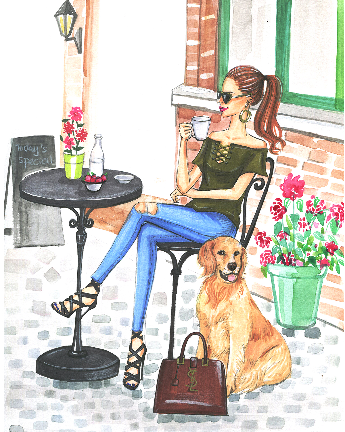 Fashion Illustration of fashion blogger in a cafe by Houston fashion illustrator Rongrong DeVoe
