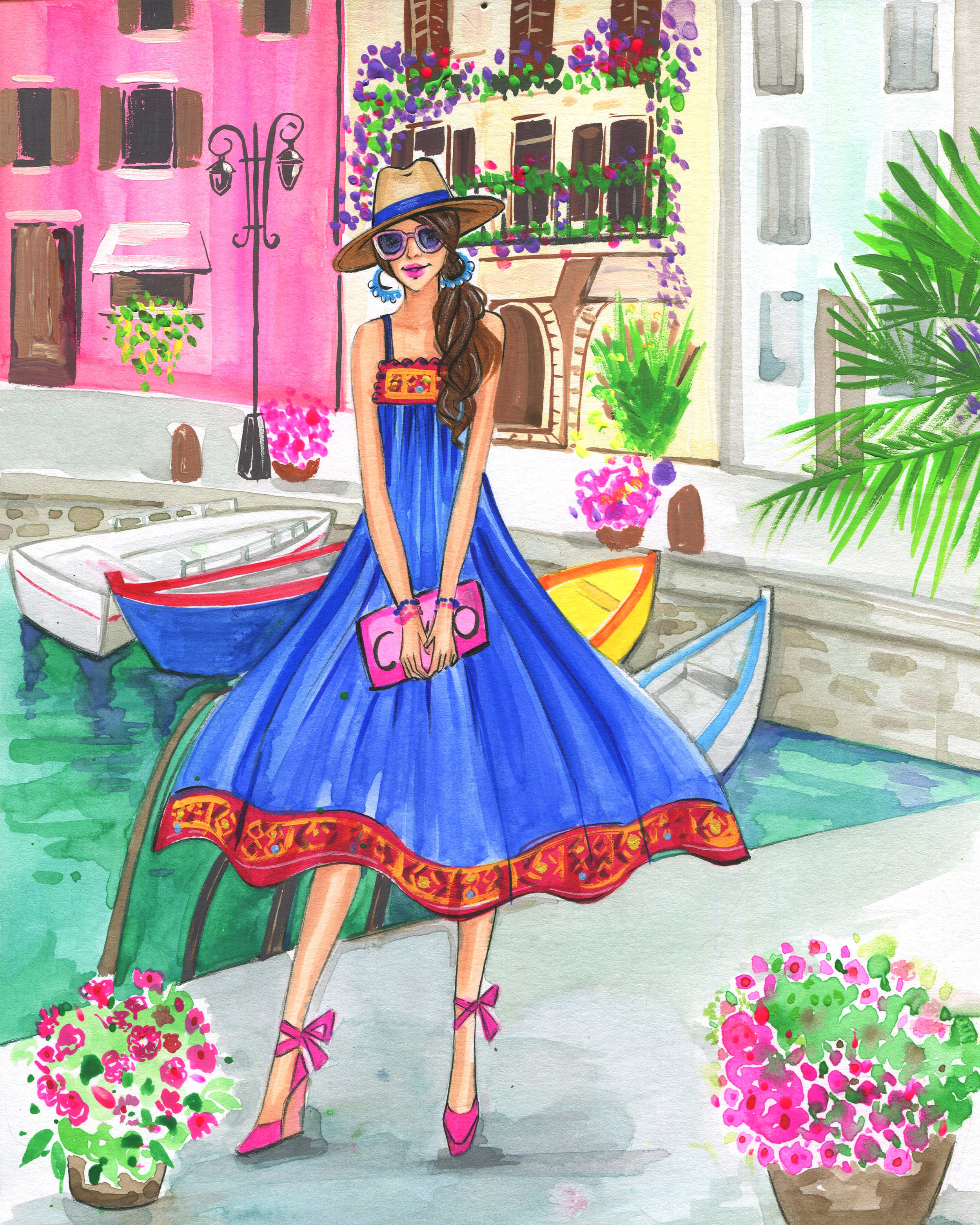 Italian street fashion illustration by Houston fashion illustrator Rongrong DeVoe