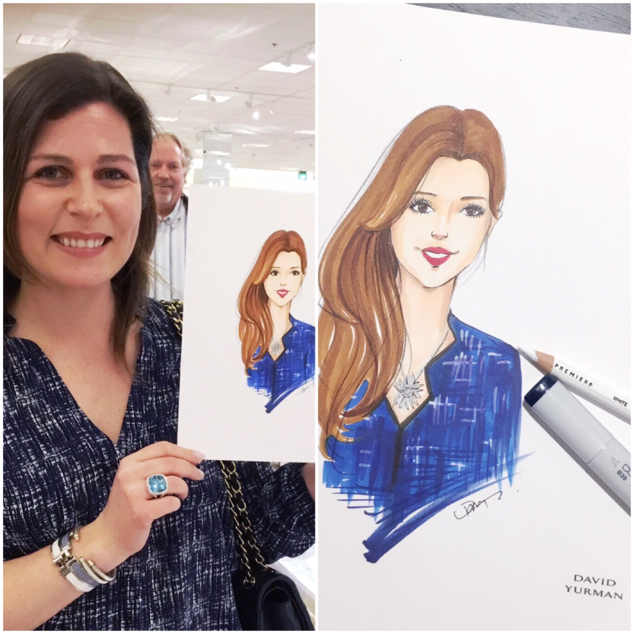 Live-sketch event for David Yurman Denver by Fashion illustrator Rongrong DeVoe