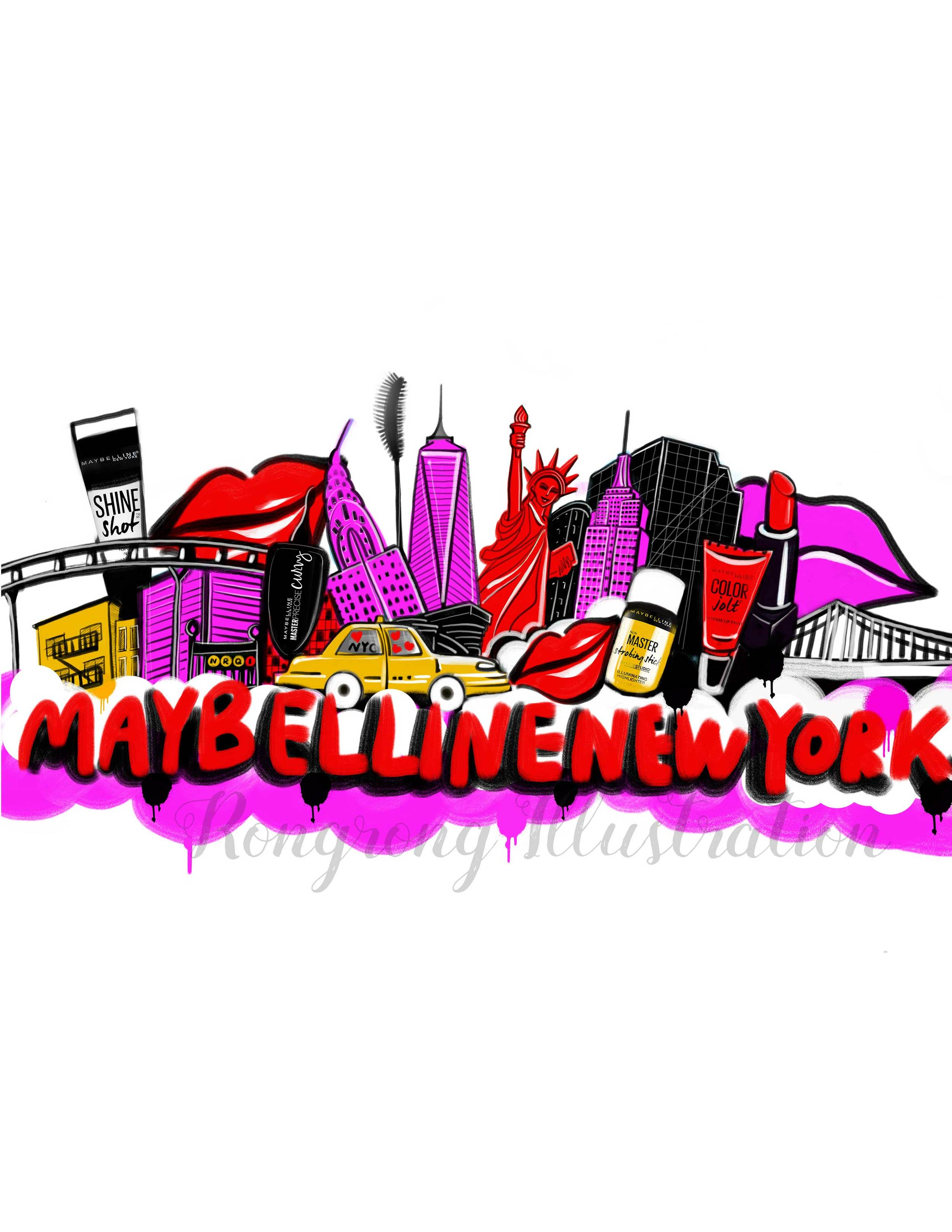 A new york skyline illustration/design on water bottle branded by Maybelline for social influencers. The design only allows 6 colors due to printing request.