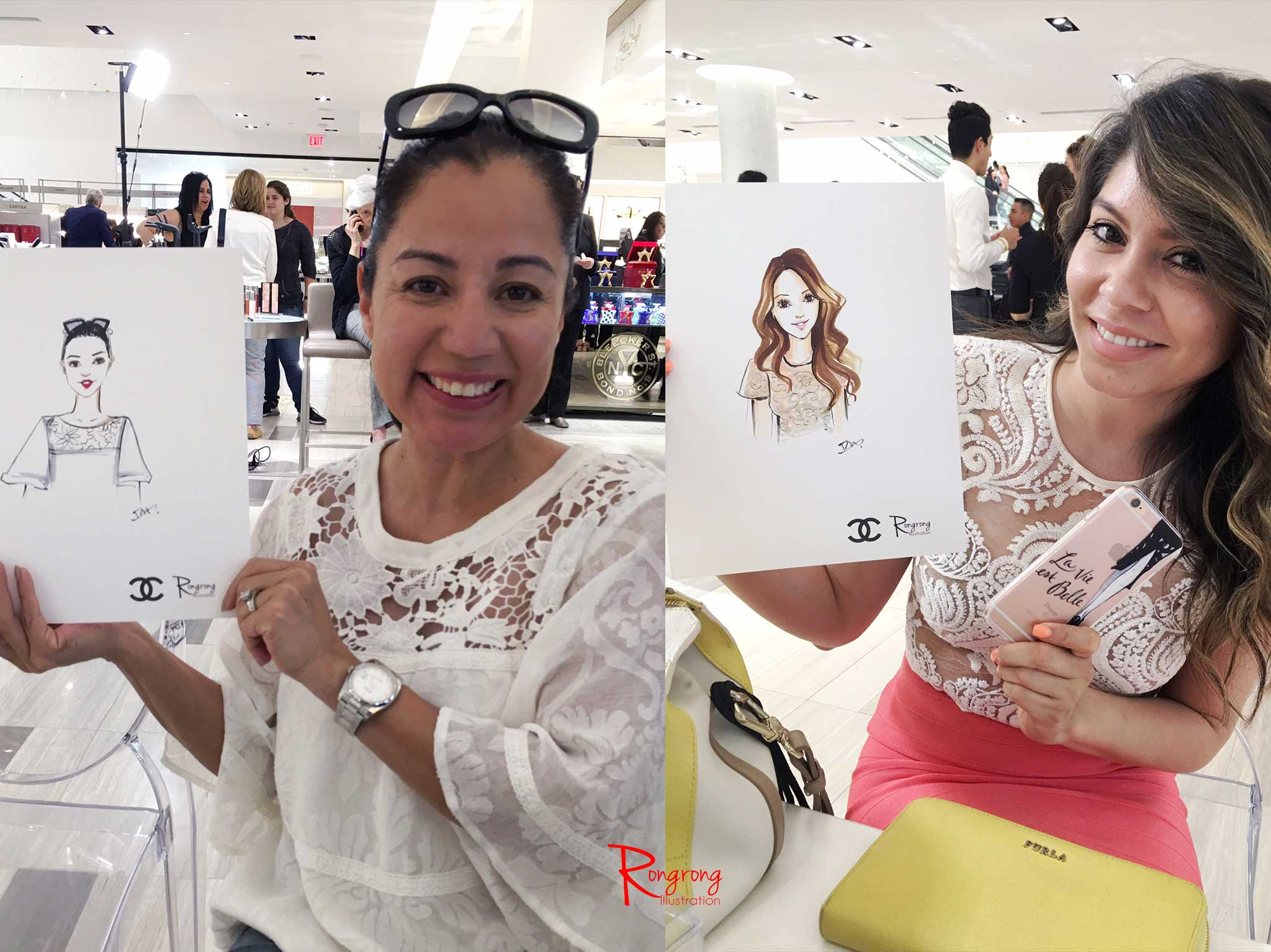 Live-sketching event for Chanel beauty by Houston fashion illustrator Rongrong DeVoe