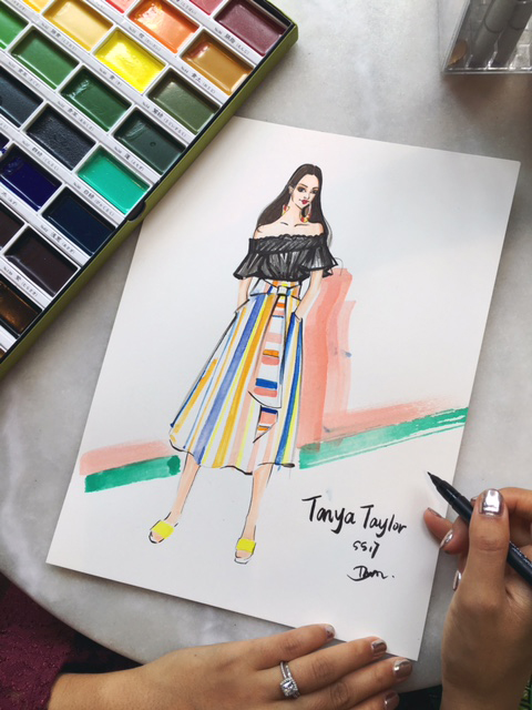 A quick watercolor sketch of my favorite look from her ss17 collection