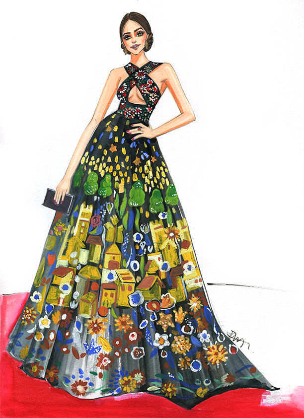 Fashion Illustration of Zuhair Murad gown at Golden globes 2017