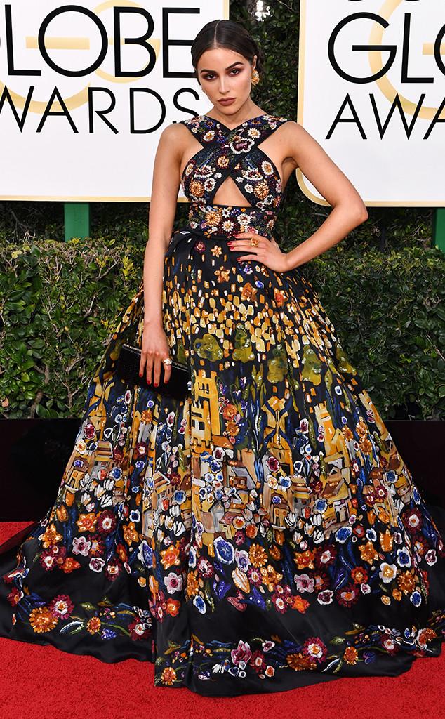 Olivia Culpo zuhair Murad gown in Golden Globes