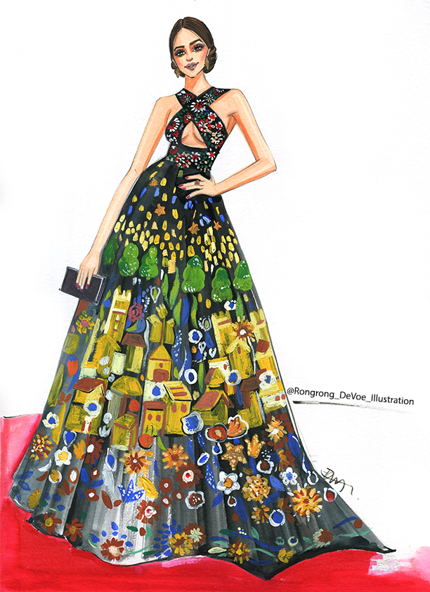 fashion illustration of Zuhair Murad Golden Globes gown by Rongrong DeVoe
