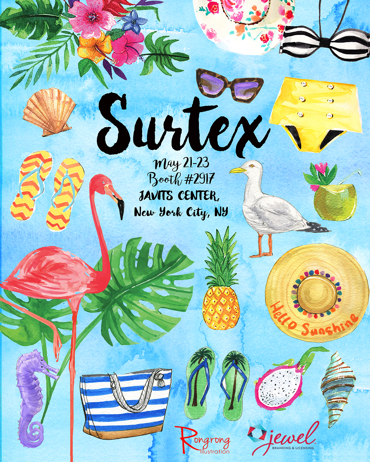 Rongrong DeVoe art licensing poster for Surtex show 2017