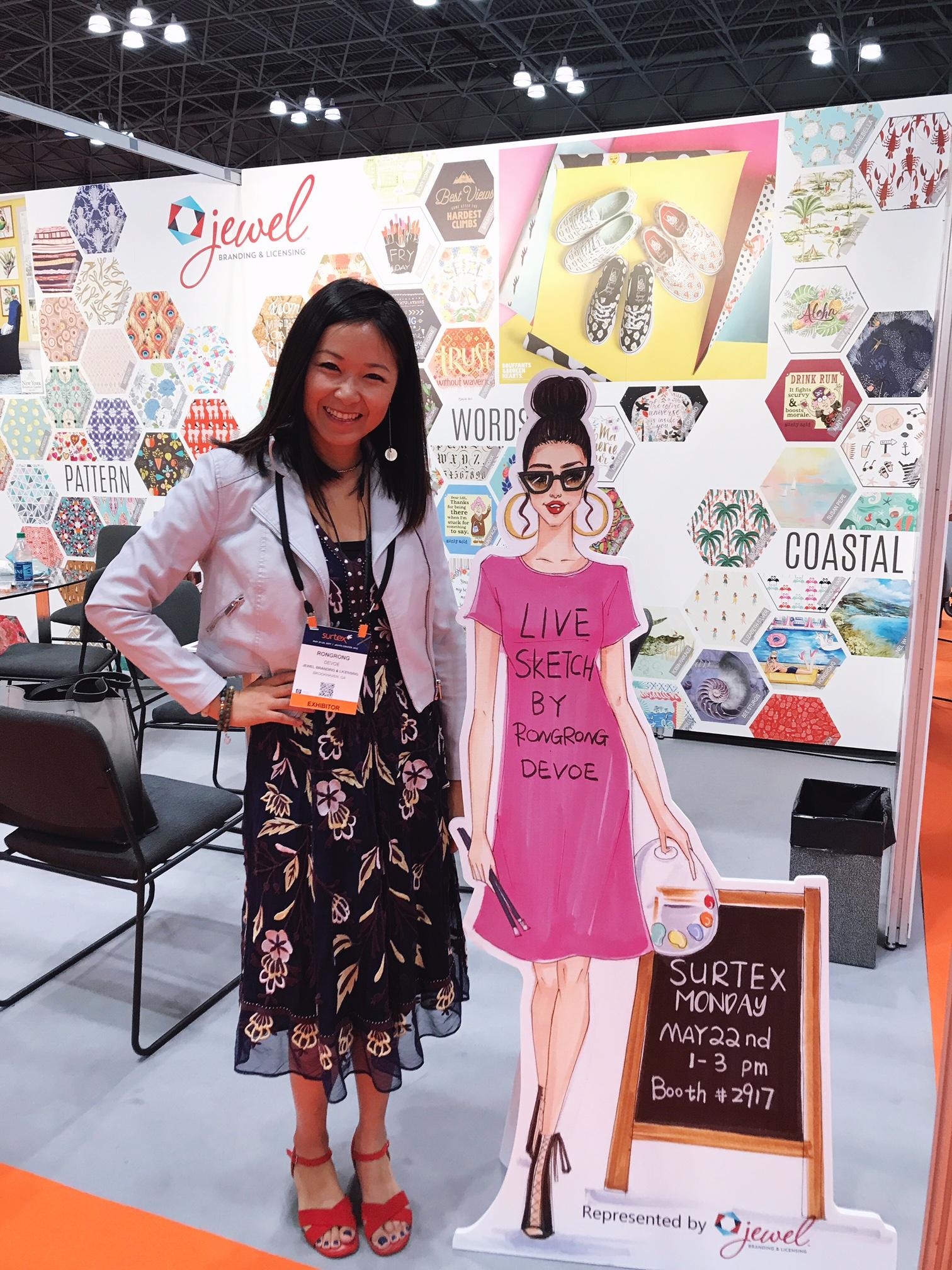 Licensing Artist Rongrong DeVoe at Jewel Branding booth at Surtex 2017