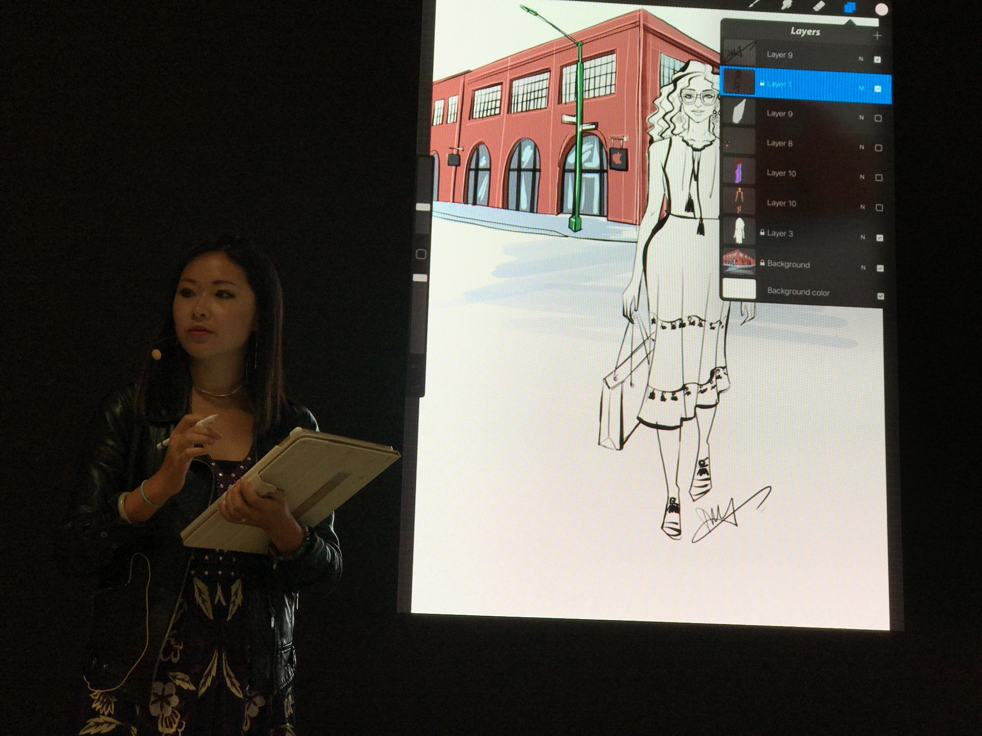 Fashion artist live sketch on Ipad and Procreate at Today At Apple event