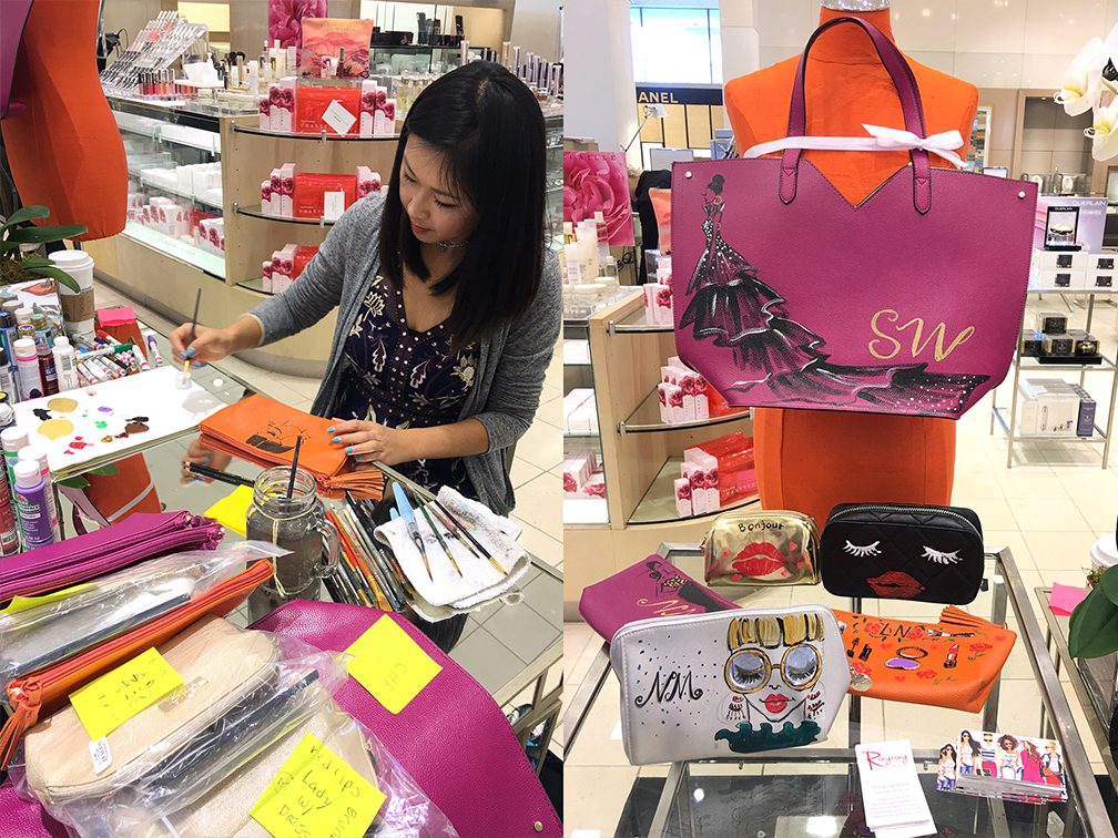 Live painting custom bag illustration for Neiman Marcus