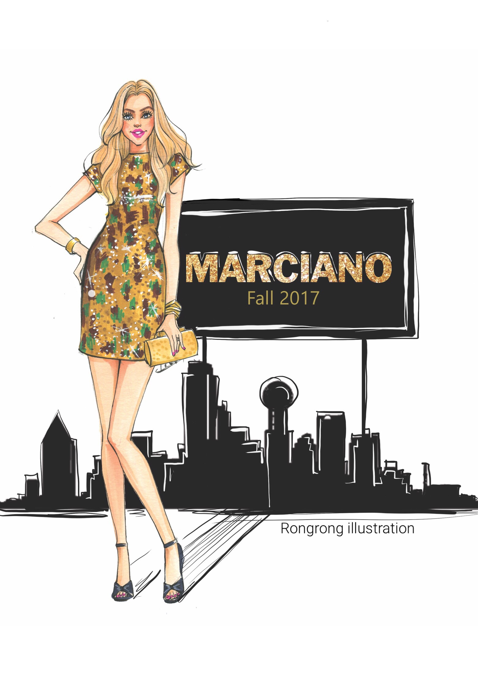 Fashion Illustration of Fall 2017 for Marciano Dallas event by Rongrong DeVoe.JPG