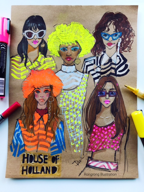 rongrong devoe's fashion and beauty sketch of house of holland ss18.JPG