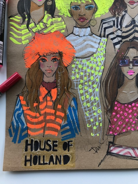 rongrong devoe's fashion and beauty sketch of house of holland ss18 at London fashion week 2017.JPG