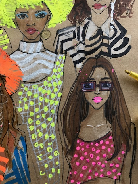 rongrong devoe's fashion and beauty illustration of house of holland ss18 at London fashion week 2017.JPG