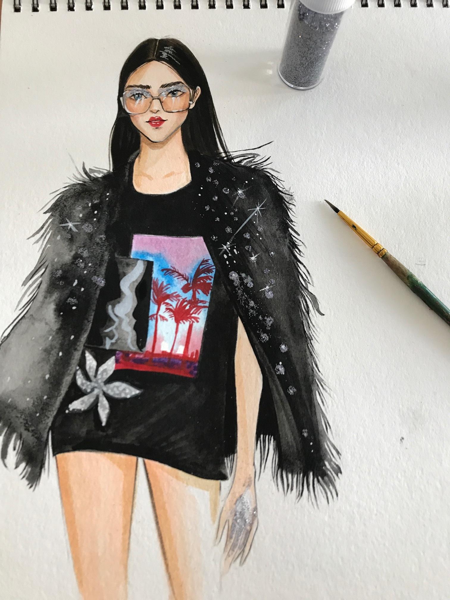 Rongrong DeVoe's Fashion sketch of francesco scognamiglio SS18 Milan fashion week.JPG