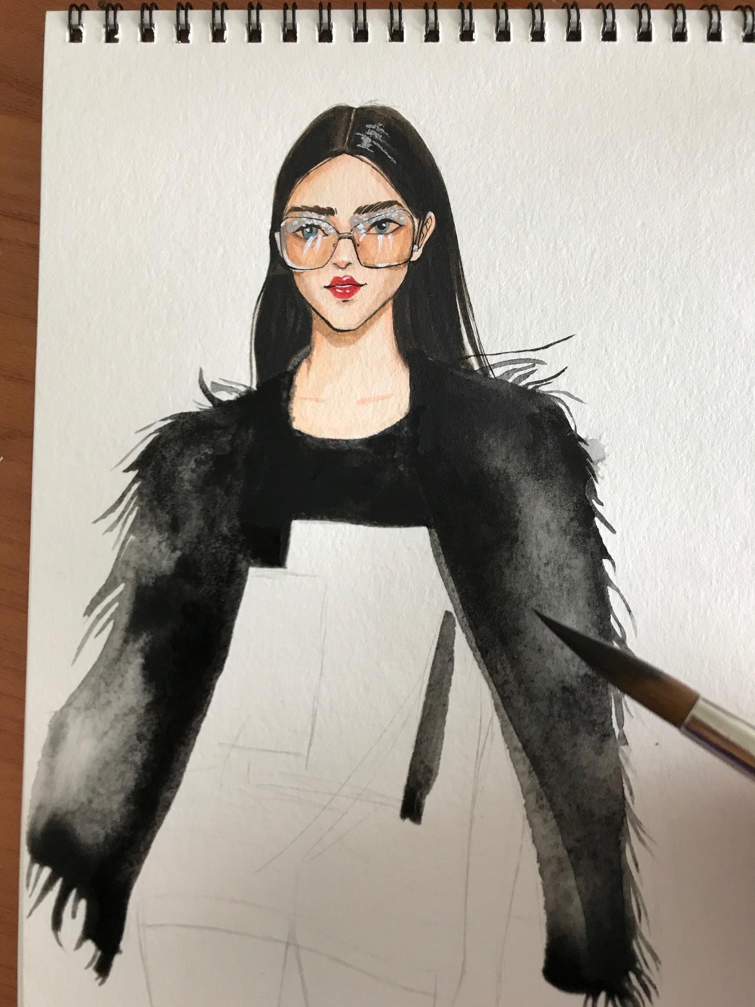 Rongrong DeVoe's Fashion illustration of francesco scognamiglio SS18 Milan fashion week.JPG