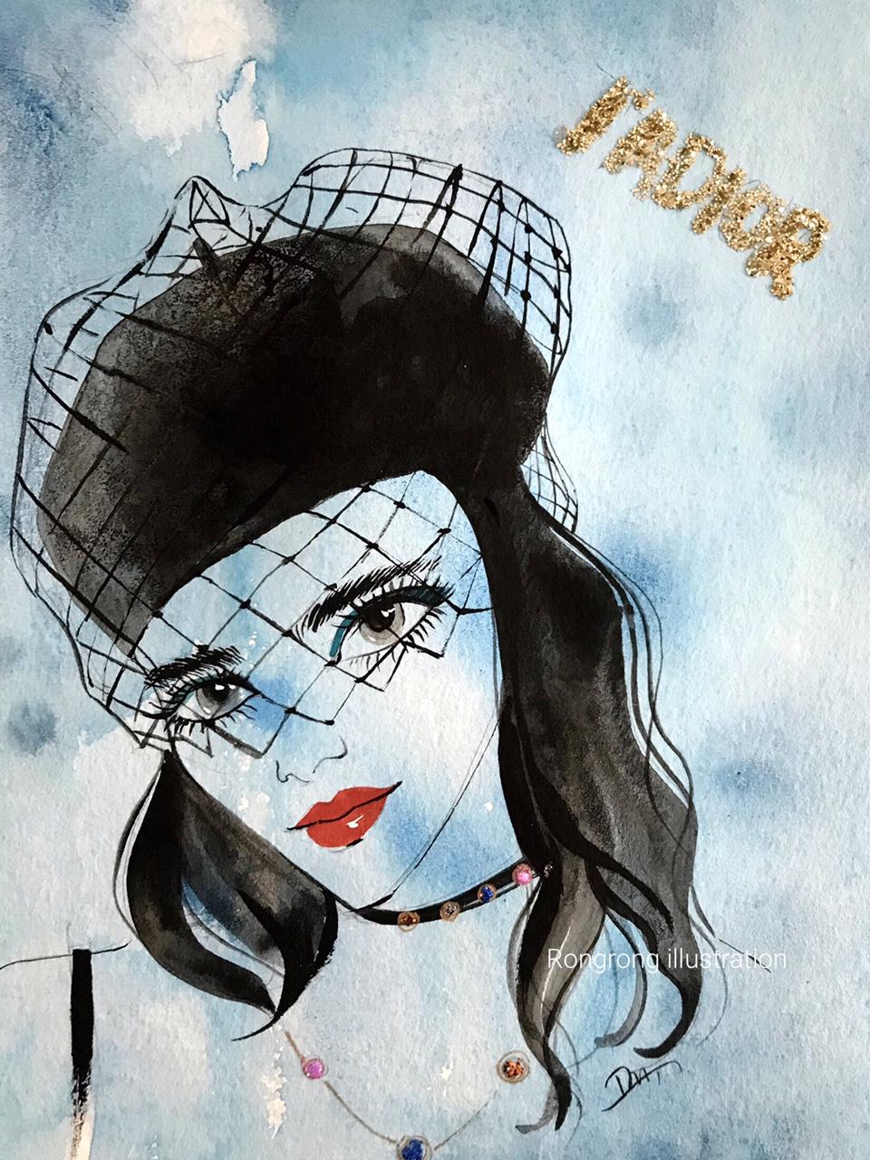 Rongrong DeVoe' Beauty Illustration of Dior Beauty SS18 at PFW.JPG