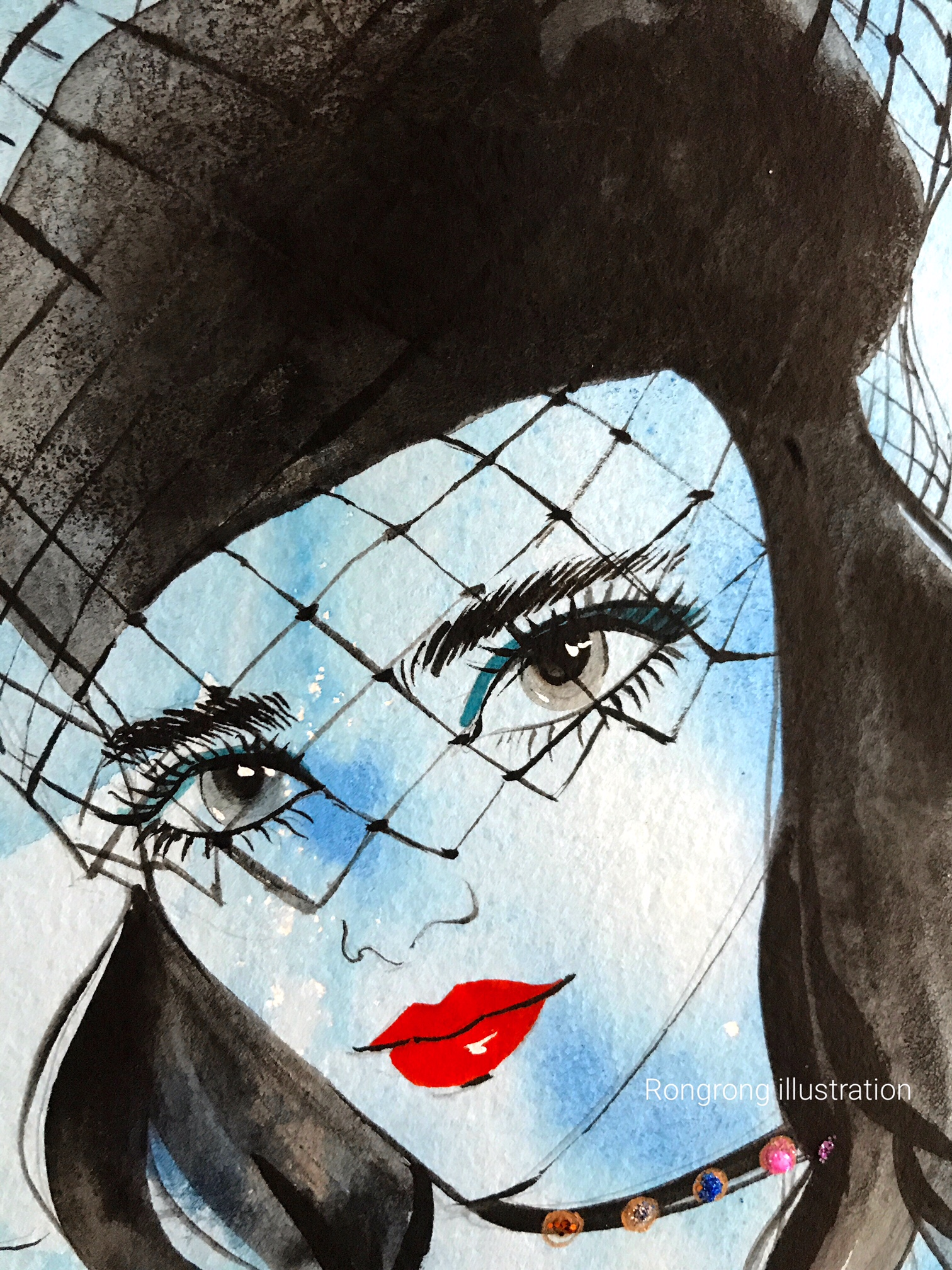 Close up of Rongrong DeVoe' Beauty Illustration of Dior Beauty SS18 at PFW.JPG