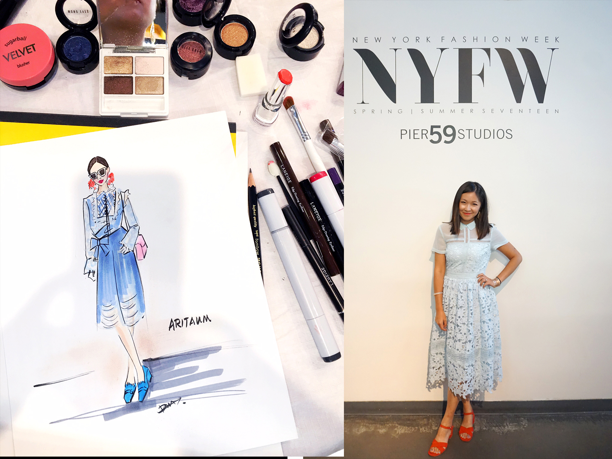 Beauty and fashion illustrator Rongrong DeVoe live sketch at NYFW blogger parties.jpg