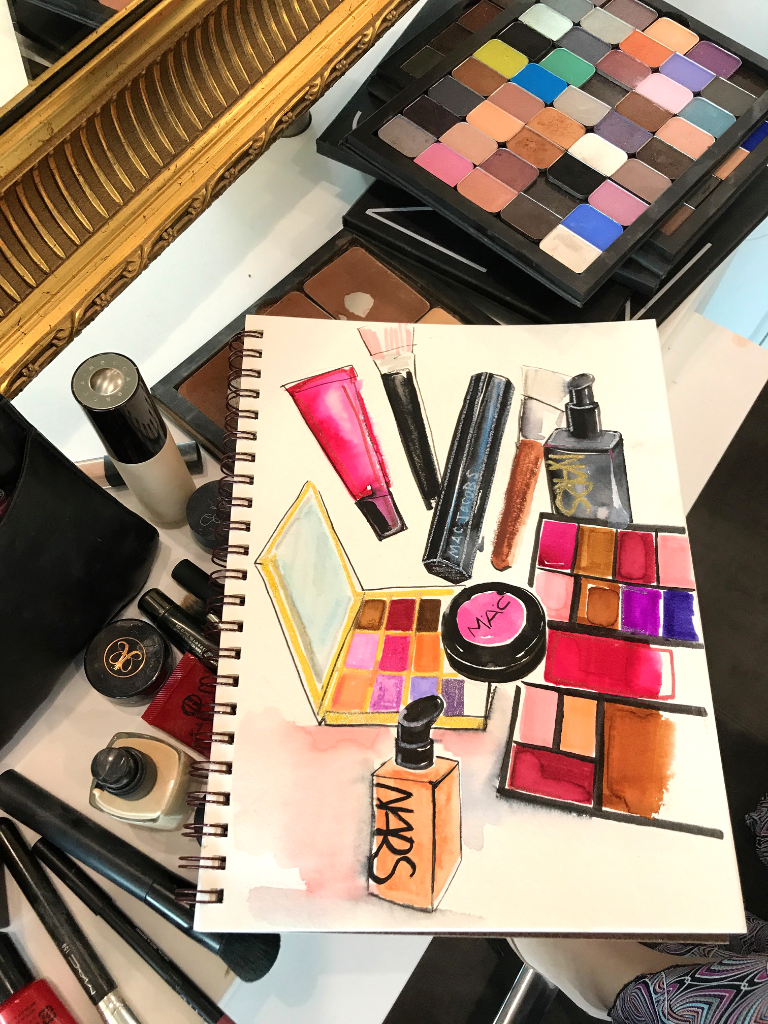 MAC and Nars beauty illustrations by ROngrong DeVoe at backstage of fashion week.JPG