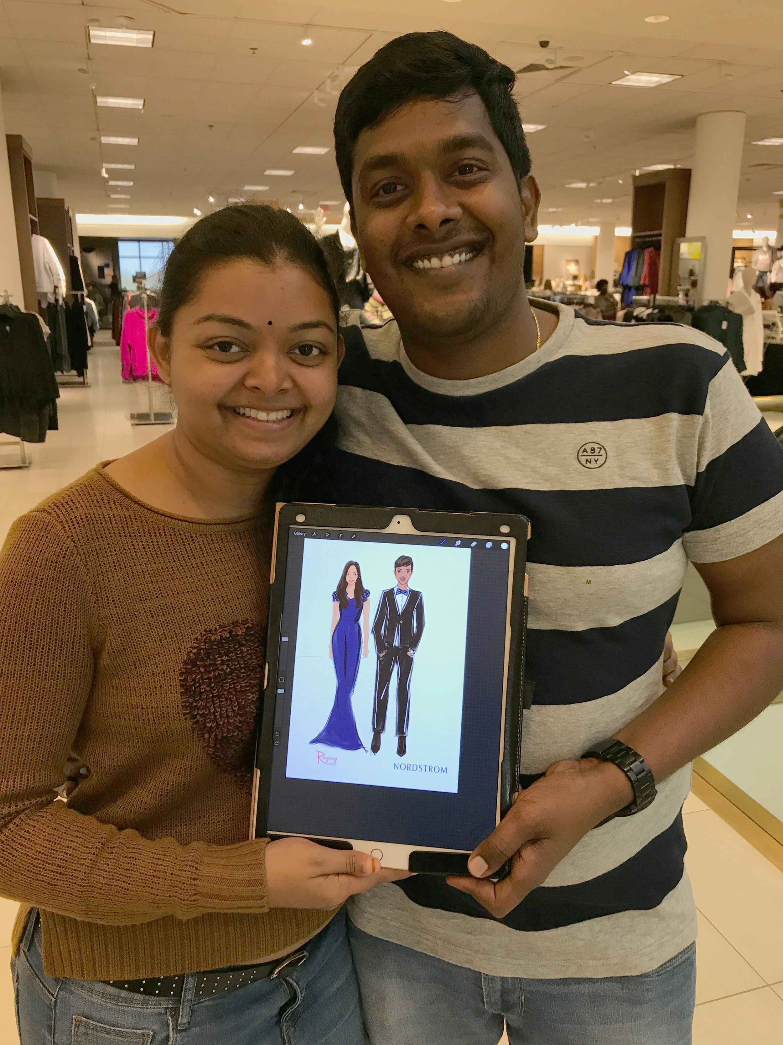 Rongrong DeVoe Live fashion sketching at Nordstrom
