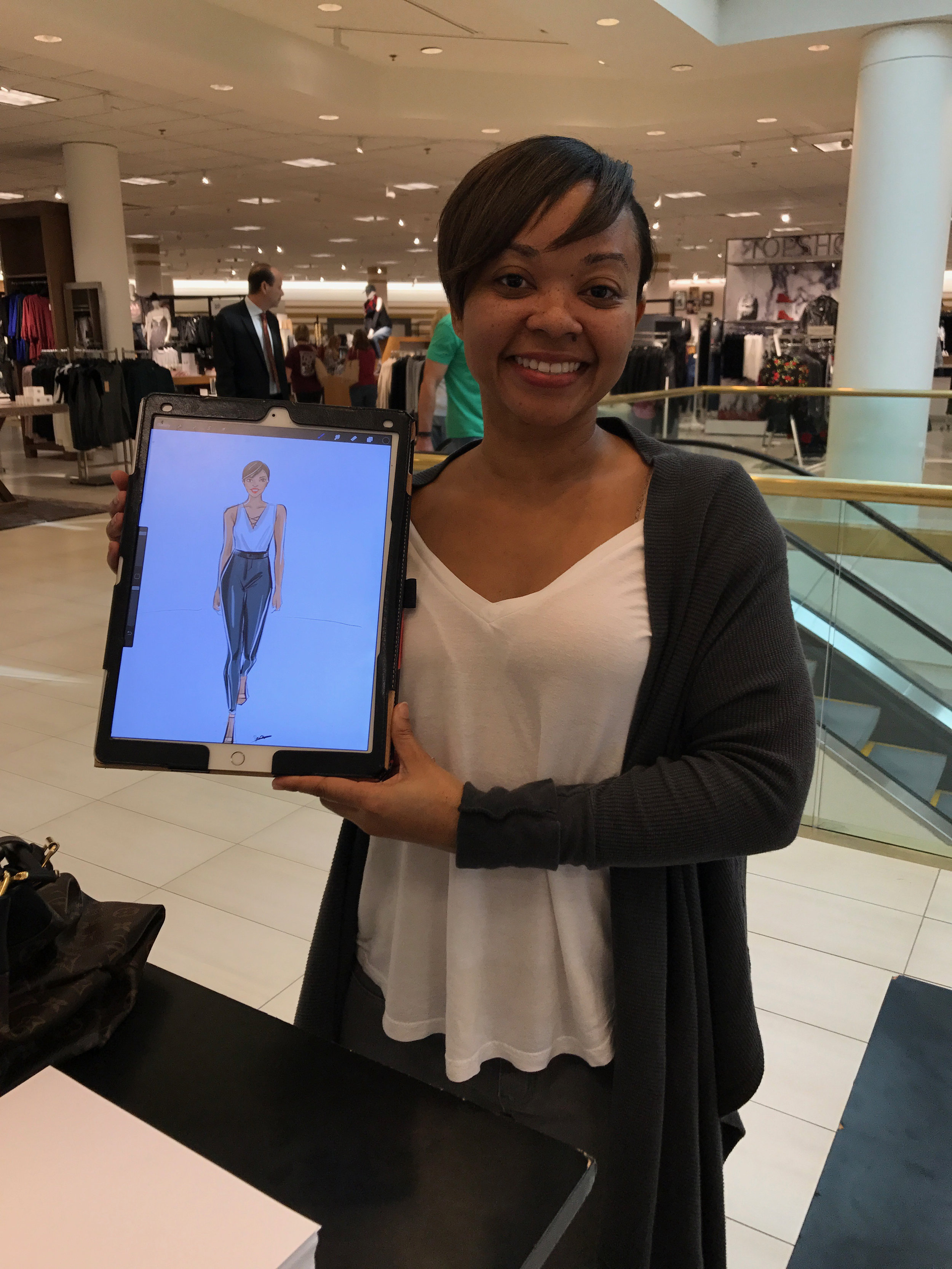 Live fashion sketching at Nordstrom dallas event by Rongrong DeVoe.JPG