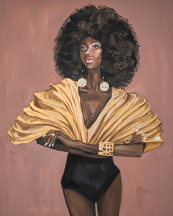Fashion illustration Portrait Afro Diva  by Rongrong DeVoe.JPG