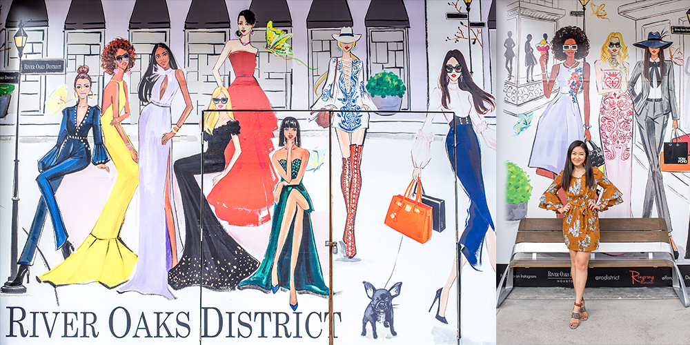 Fashion artist Rongrong DeVoe at River Oaks District fashion mural painted by her.JPG