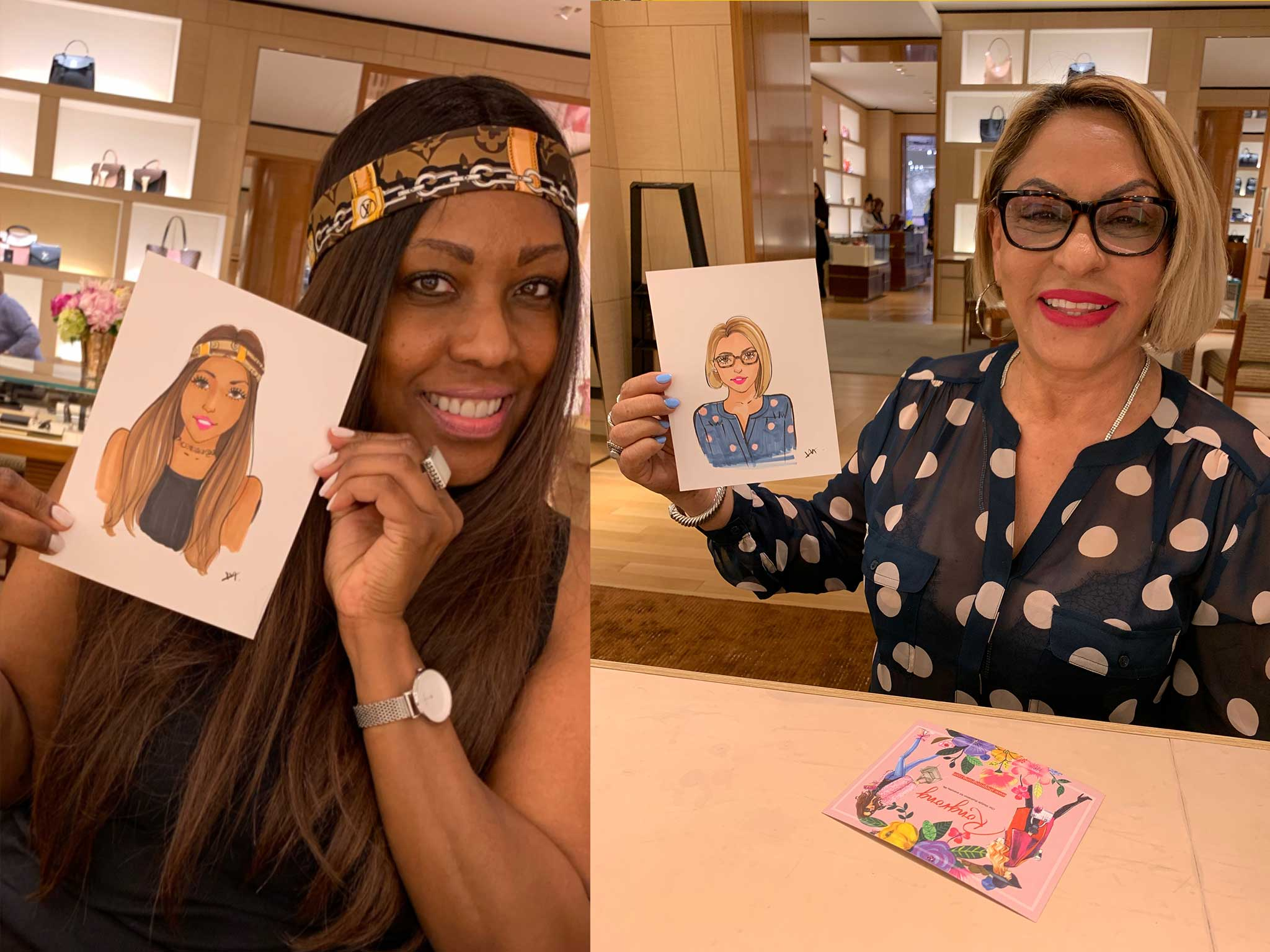 Fashion-illustrator-Rongrong-DeVoe-live-sketch-at-Louis-Vuitton-store-in-Houston-for-mother's-day-2019.jpg