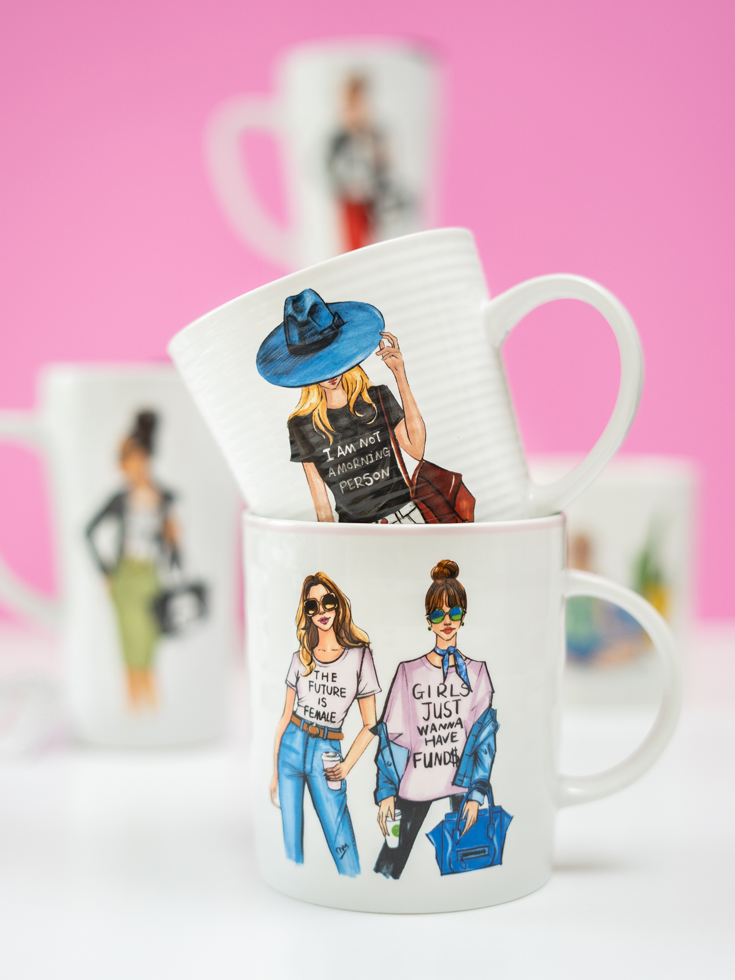fashion illustrated fashion coffee mugs for licensing by rongrong devoe.jpg