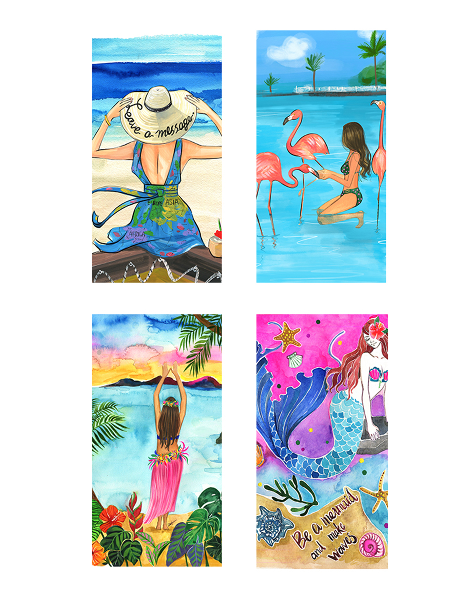 Beach towel summer fashion illustration by rongrong devoe for art licensing.jpg