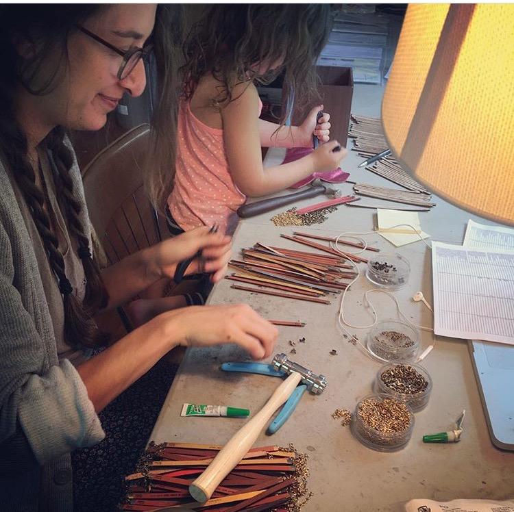 Laurel Denise gets help from her daughter and studio maker - via Instagram.