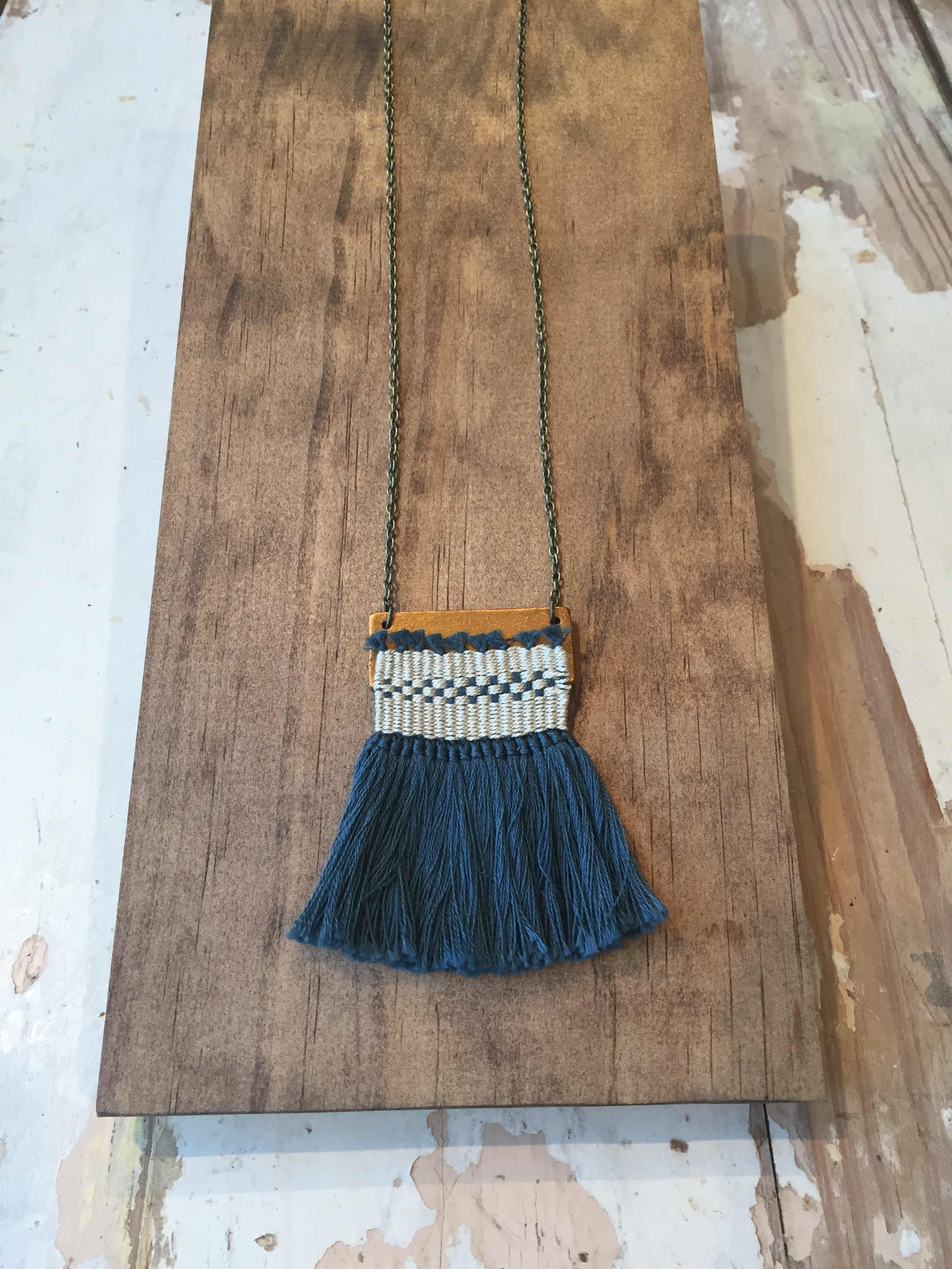 Mini-weaving necklace by Twenty Two West Studio